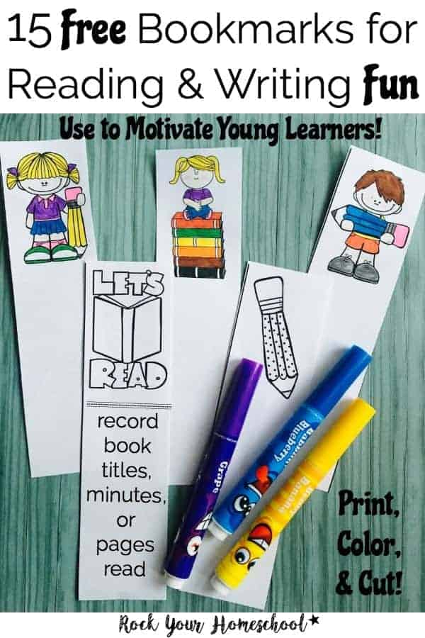 Want a fun way to motivate your young learners? Use these 15 Free Bookmarks for Reading & Writing Fun. Just print, cut, & color! Use for reading & writing-find out how at rockyourhomeschool.net