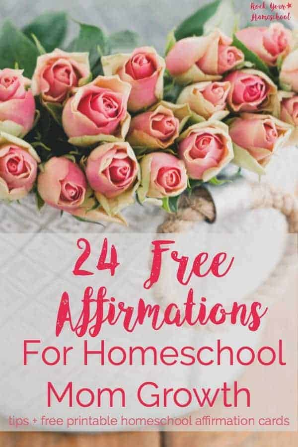 Add happy to your homeschool day with affirmations! Use these 24 FREE printable homeschool affirmation cards to help you start harnessing the power of positive thinking strategies. You CAN grow as a homeschool mom!