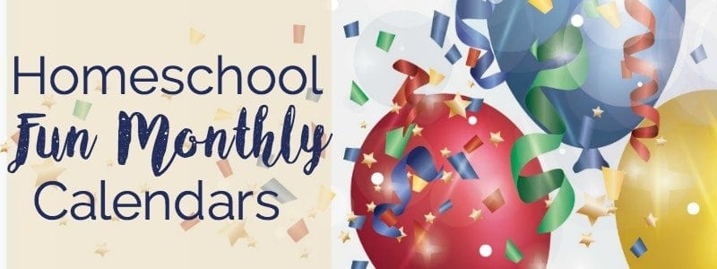 Want to add learning fun to your homeschool day? Use these free monthly homeschool fun calendars for inspiration & ideas to rock your homeschool!