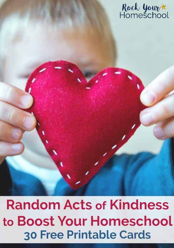 Uplift your homeschool with these 30 free Random Acts of Kindness printable cards. Help your kids & yourself cultivate positive & encouraging habits. Build connections within your homeschool, family, and community. Find out why RAKs (Random Acts of Kindness) can boost your homeschool.