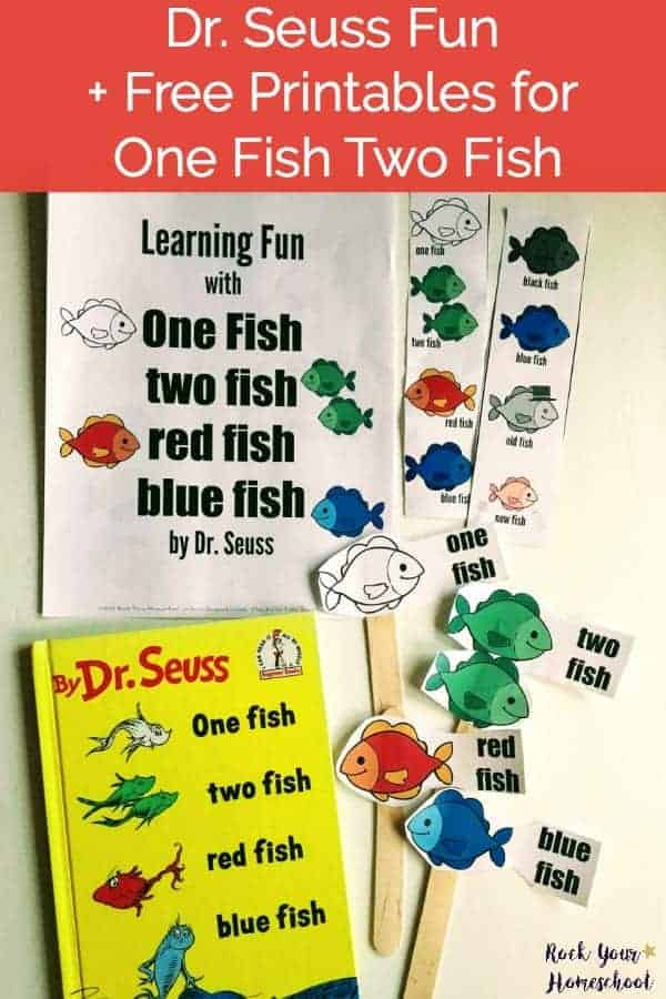 Learning Fun with One fish two fish red fish blue fish activity pack cover with the book by Dr. Seuss to feature great ways to extend the learning fun