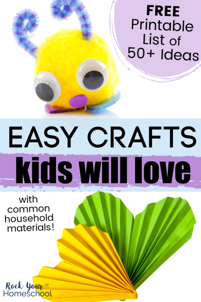 Cute DIY toy made out of pompom, googly eyes, pipe cleaners, & felt and yellow & green folded paper hearts to feature the variety of easy craft ideas for kids to enjoy using common household materials