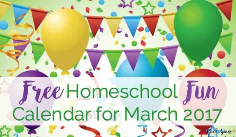 FREE Homeschool Fun Calendar for March 2017