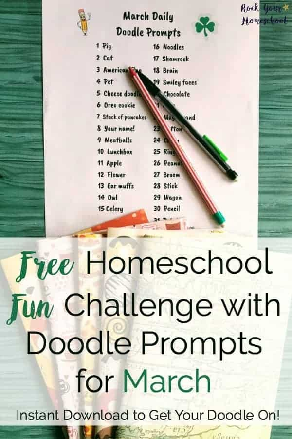Get your doodle on!  Have a blast in your homeschool with this FREE instant download of daily doodle prompts.  Encourage creativity & imagination with this simple yet powerful activity!