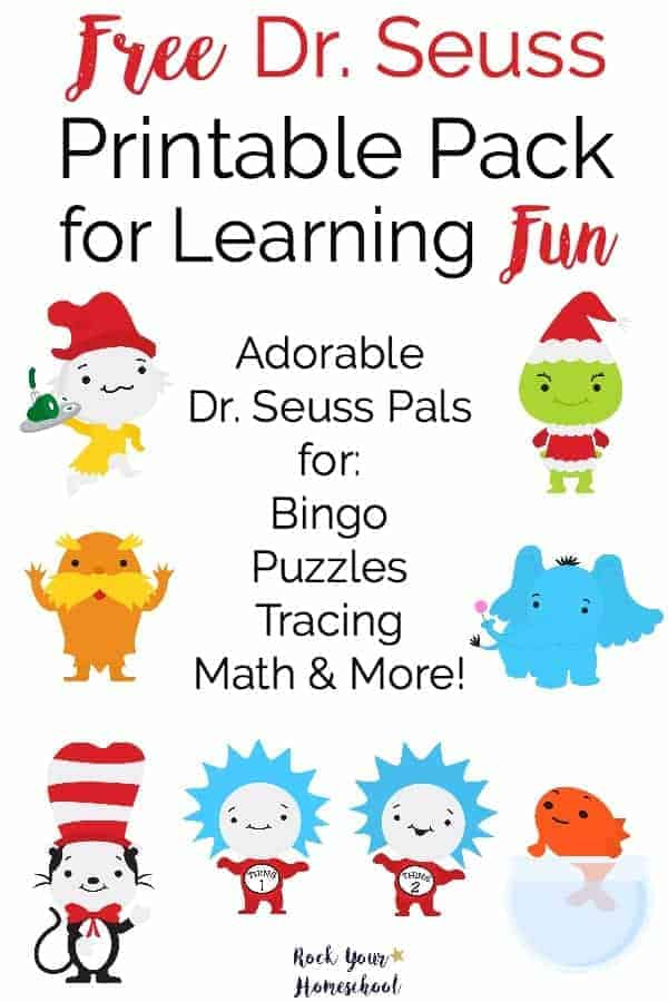 Get ready to celebrate Dr. Seuss's birthday on March 2 (or any time of year)! Here is a FREE printable pack full of cute Dr. Seuss pals to help you have learning fun. Great for young learners & anyone who loves Dr. Seuss.