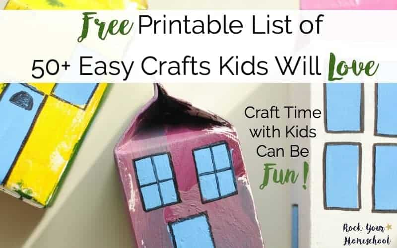 graphic about Printable Crafts for Kids referred to as Absolutely free Printable Checklist of 50+ Basic Crafts Little ones Will Take pleasure in - Rock