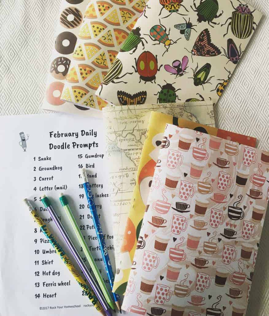 Check out our DIY Doodle Notebooks! Great way to store your doodle prompts.