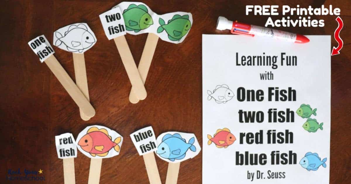 Extend the learning fun with One fish two fish red fish blue fish book by Dr. Seuss using this free printable activity pack.