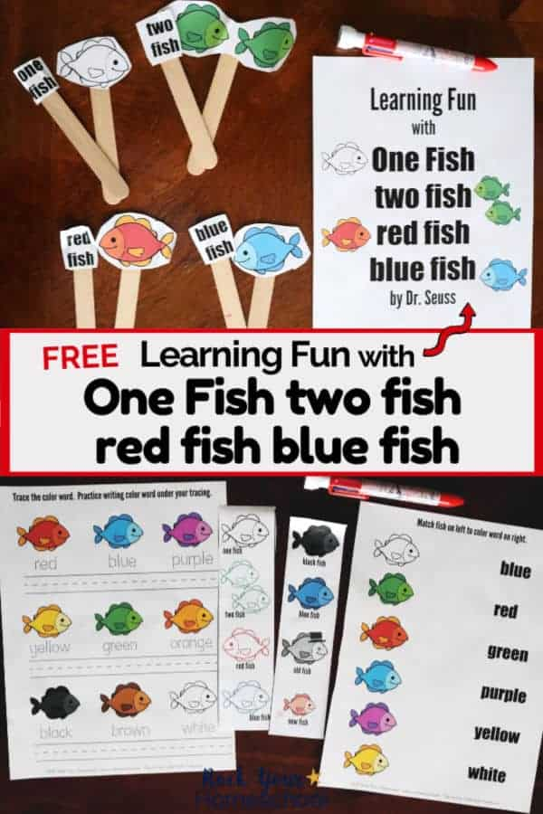 Learning Fun with One fish two fish red fish blue fish by Dr. Seuss activity pack cover & printable pages to extend the learning fun for kids