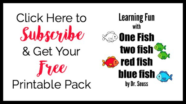 Get your FREE printable pack for Learning Fun with One Fish Two Fish red fish blue fish by Dr. Seuss.