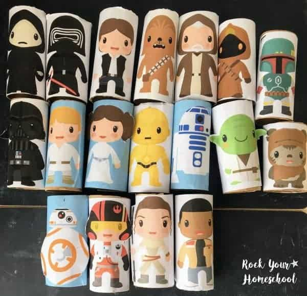 This free printable pack includes wonderful ways to make easy Star Wars-Inspired toilet paper roll figures to enjoy creative play.