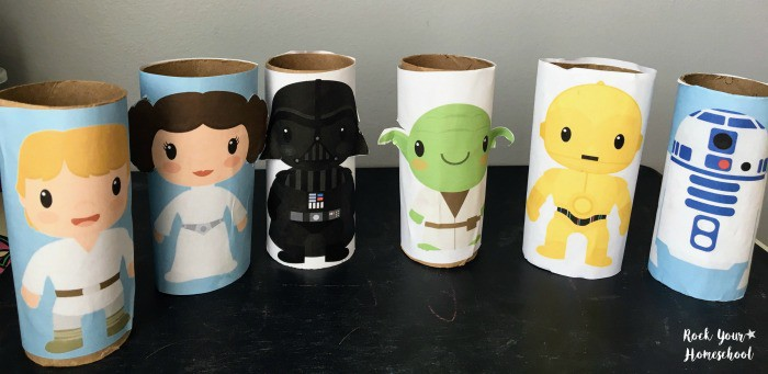 Top 50 Star Wars Crafts, Activities, Workbooks, Worksheets to entertain your family, featured by top US Disney Blogger, Marcie and the Mouse: https://rockyourhomeschool.net/wp-content/uploads/2017/03/Free-Easy-Star-Wars-Toilet-Paper-Roll-Figures-for-Creative-Fun-examples.jpg