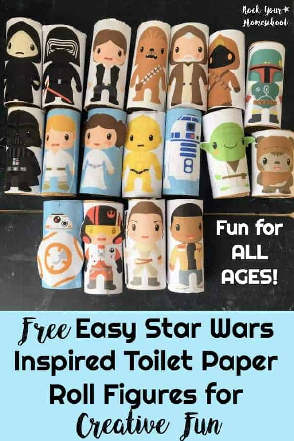 Super fun & easy Star Wars Inspired Toilet Paper Roll Figures that are fun for all ages! Discover different ways to use for creative fun plus get your FREE download of these 18 characters.