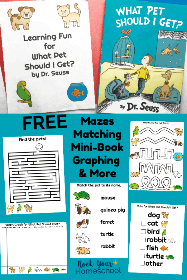 Free printable What Pet Should I Get? learning fun pack & book on red background with printable mazes, matching on blue background