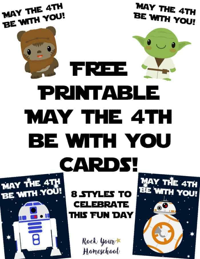 Free Star Wars cards to help you celebrate May The 4th Be With You Day! 8 styles to share & enjoy.