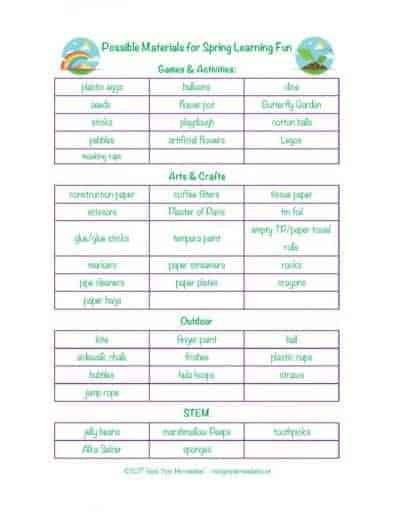 thumbnail of Spring Learning Fun Materials List