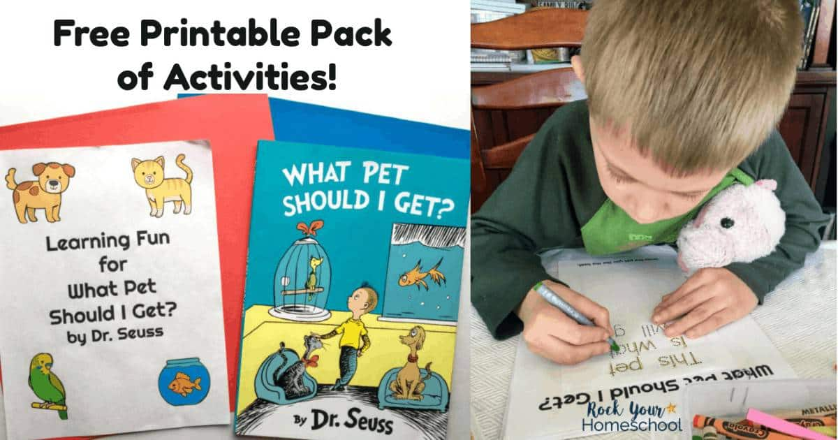 The free printable pack of activities will help you extend the learning fun with What Pet Should I Get? by Dr. Seuss.