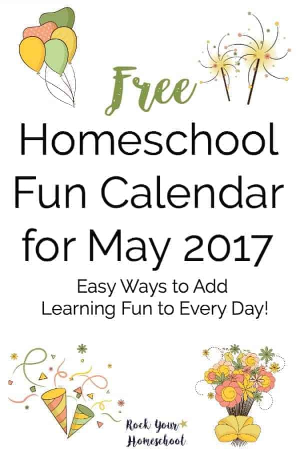 Here is a fabulous resource to help you easily add learning fun to every homeschool day. Free printable monthly calendar with weekly checklist for suggested materials makes it super easy & fun to celebrate fun days.
