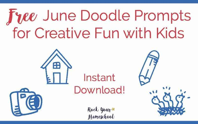 Have creative fun with your kids with these free June doodle prompts. Easy way to connect & enjoy:)