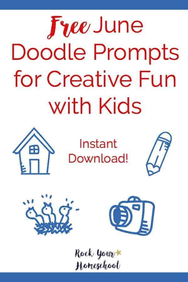 Join the daily doodling fun! Free instant download of June Doodle Prompts for creative fun with kids. Great way to connect:)