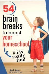 Boy wearing blue cape & red shorts with striped socks to feature all the learning fun to be had with these 54 brain breaks to boost your homeschool