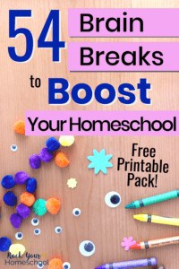Variety of craft & arts supplies like colorful pompoms, googly eyes, foam shapes, & crayons to feature all the focused learning fun to be had with these 54 brain breaks for kids