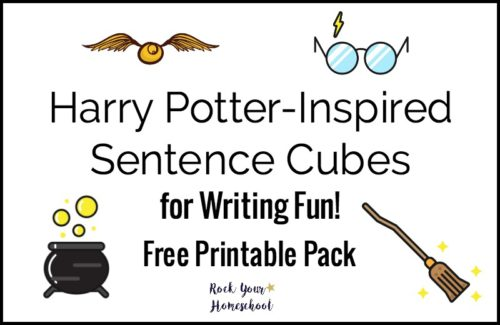 Add a boost to your writing fun with these Harry Potter-Inspired Sentence Cubes. Free printable pack to get you started on learning fun!