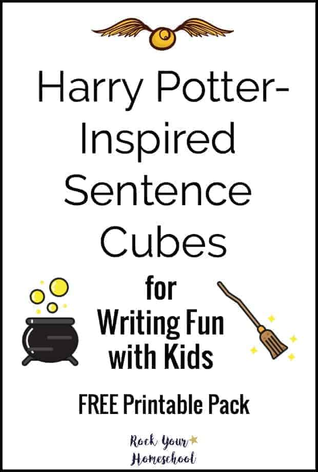 Add sparkle to your writing fun with these Harry Potter-Inspired Sentence Cubes. Free printable pack for writing fun with kids.