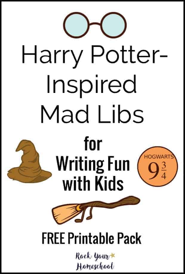harry potter inspired mad libs with harry potter theme images like sorting hat broom