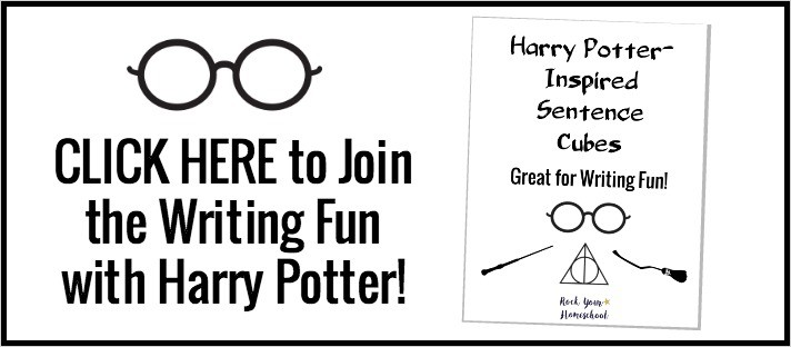 Join the celebration! Click here to get your FREE printable pack of Harry Potter-Inspired Sentence Cubes.