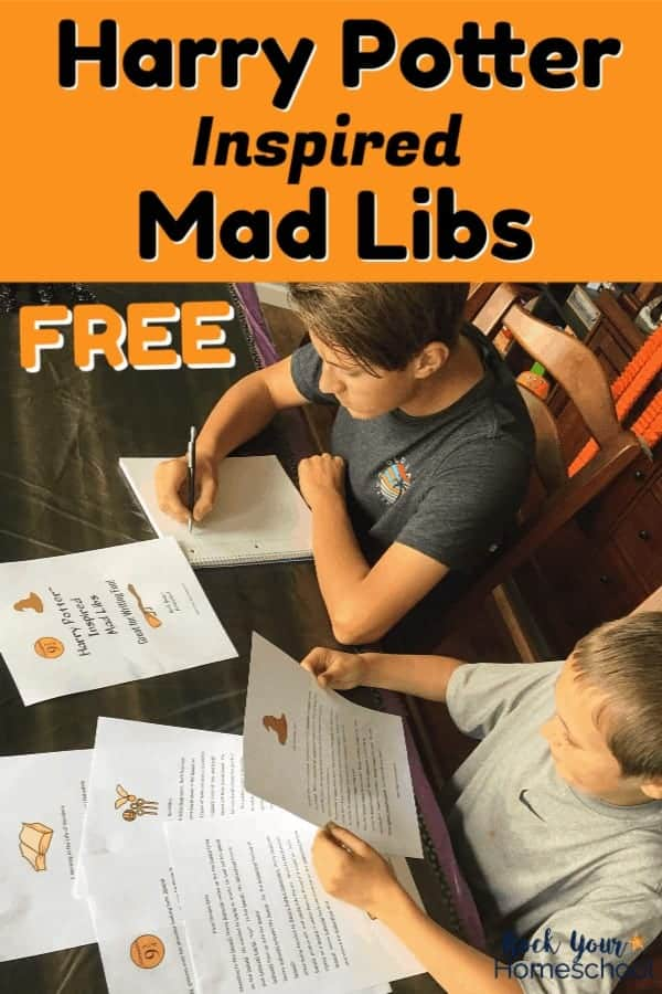 Two boys using free Harry Potter Mad Libs for writing fun