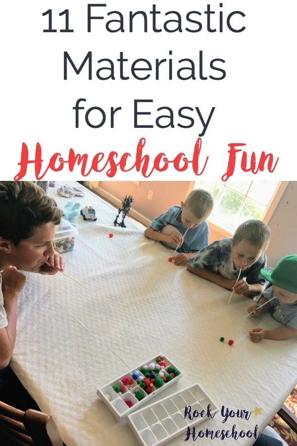 Homeschool fun CAN be easy!  Learn how these 11 materials can help you have easy homeschool fun.