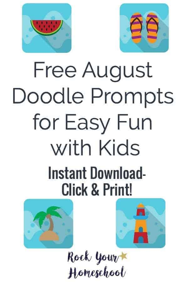 Get ready for some super easy fun with your kids!  Beat the heat this August with doodle prompts!  Instant download so you can get started right away :)