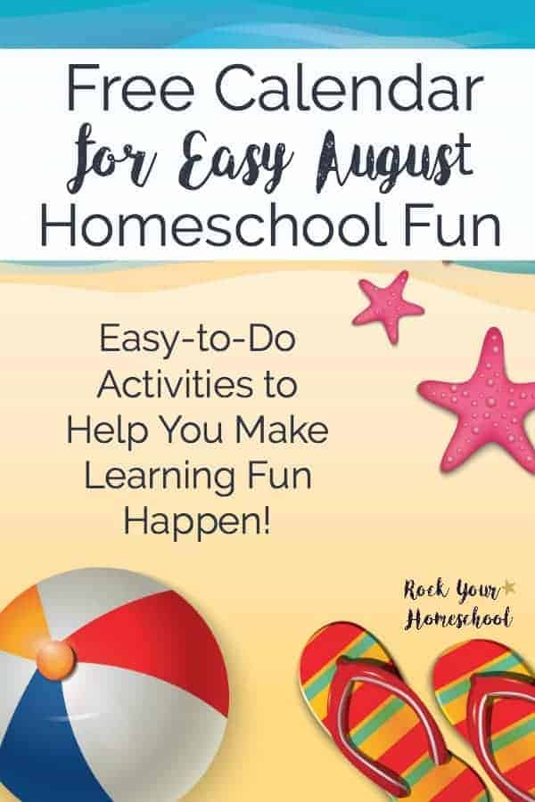 Get this free printable August Homeschool Fun calendar to help you make special memories with your kids this summer. Includes monthly layout plus weekly materials checklist to make the learning fun process simple & enjoyable for all!