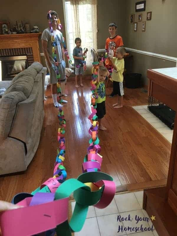 Make a super long chain for each day of your homeschool to as a focus tool.
