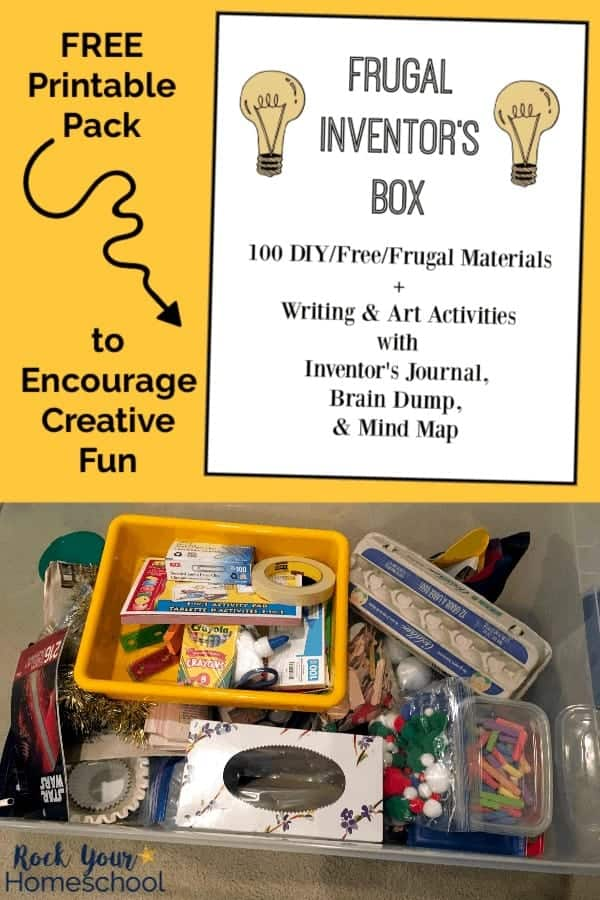 Free printable Frugal Inventor's Box cover on yellow background and recyclable & frugal materials for creative fun for inventions by kids