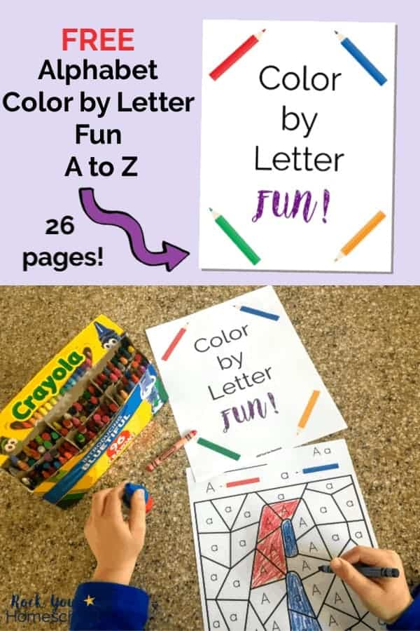 Color by Letter Fun cover on light purple background with purple arrow and boy wearing bright blue shirt holding blue crayon & coloring letter A Color by Letter Fun with box of crayons on granite surface