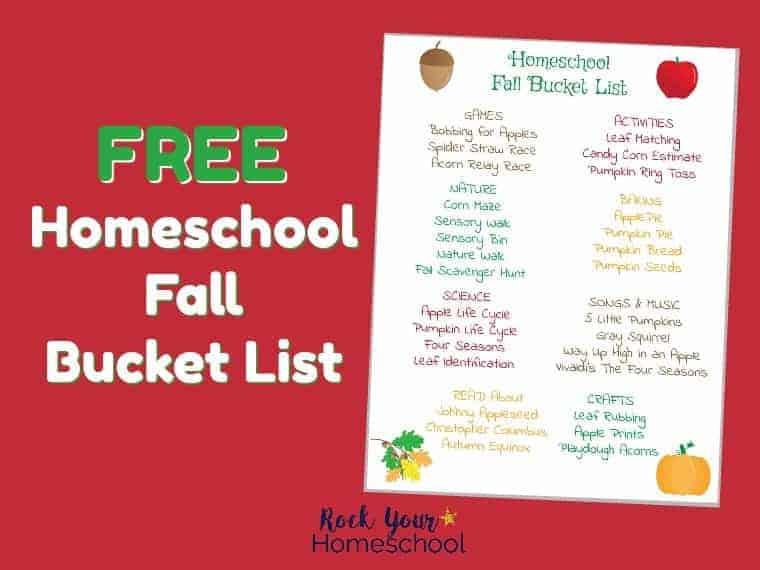 Free Homeschool Fall Bucket List for Family Fun