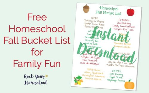 Get ready for some awesome autumn learning & family fun with this free printable Homeschool Fall Bucket List.