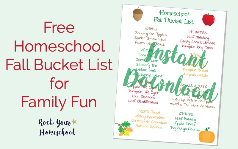 Free Homeschool Fall Bucket List for Family Fun