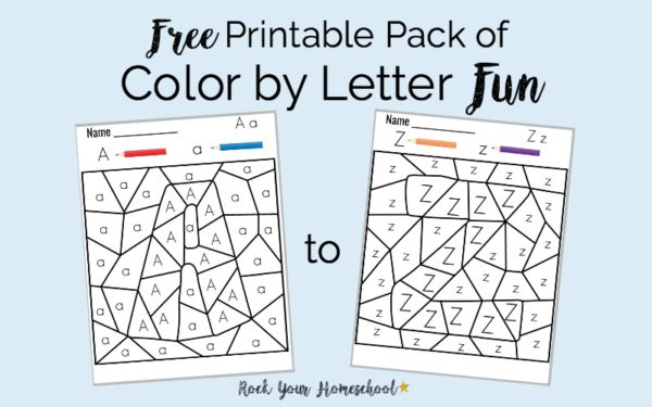 Free Printable Pack of Color by Letter Fun