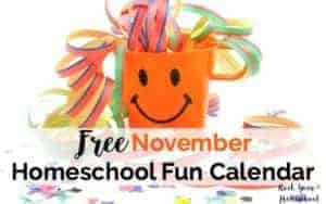 Get ready for some awesome November homeschool fun. This free printable calendar & weekly supplies checklist gives you ideas & inspiration for easy-to-do activities for learning fun with kids. Encourage creative thinking as you create special shared moments.
