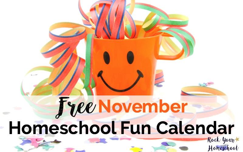 Free November Homeschool Fun Calendar for 2017