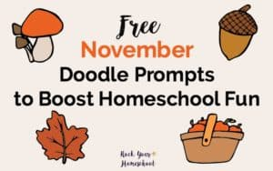 Boost your homeschool fun with these easy-to-do daily doodle prompts for November. Free instant download!
