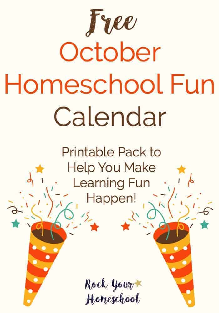 Get ready for special shared moments with your kids with this October Homeschool Fun Calendar. Daily activities + a weekly supplies checklist help you make learning fun happen.