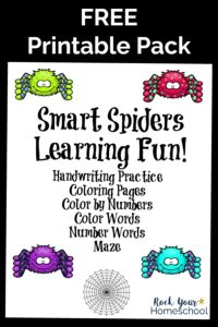 Smart spiders learning fun cover on black background