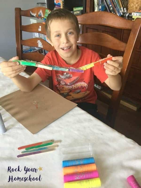 Use these solid tempera paint sticks on clothespins to help with homeschool organization-or make a fun chain!