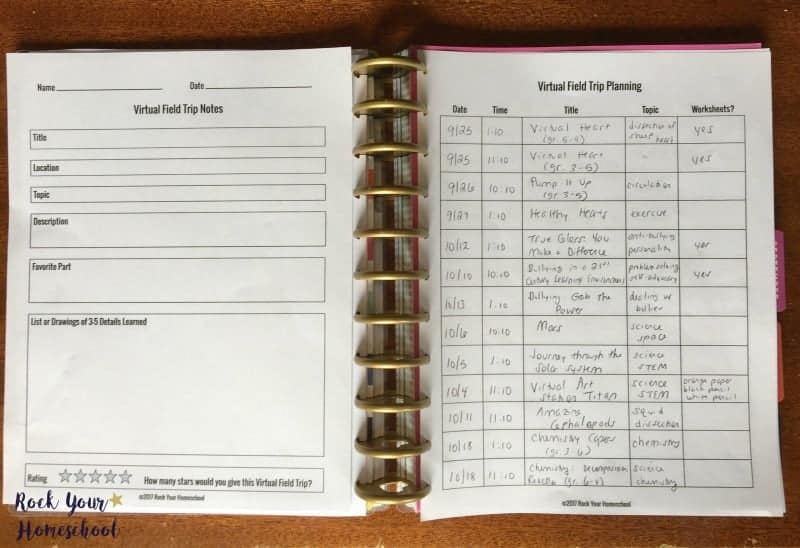 Use these free printable Virtual Field Trip Notes & Planning pages to help you be prepared & have fun!