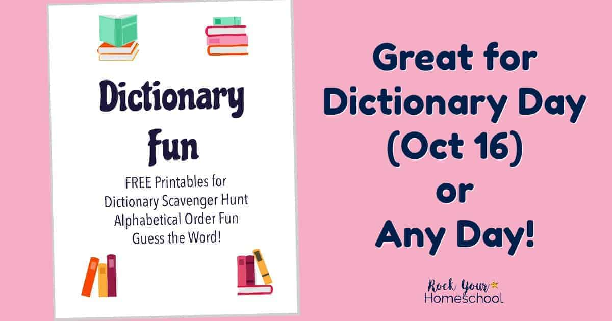 Get ready for Dictionary Day (Oct. 16) or have dictionary fun any day with this free printable pack.