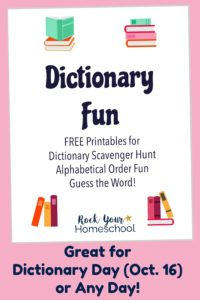 Dictionary Fun printable pack cover on pink background